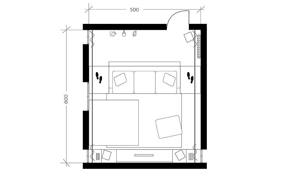 Salon design home cinéma, plan