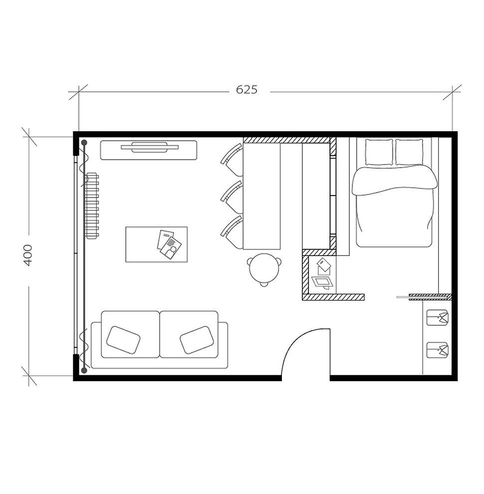 Salon avec chambre, plan après