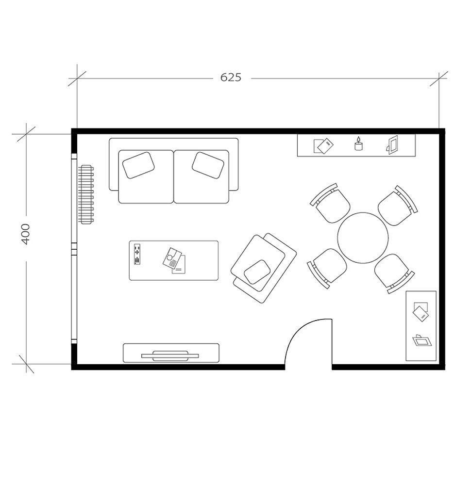 Salon avec chambre, plan avant