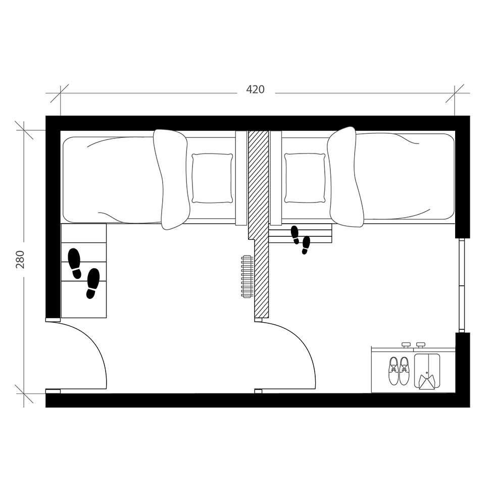 2 chambres en 1, plan après