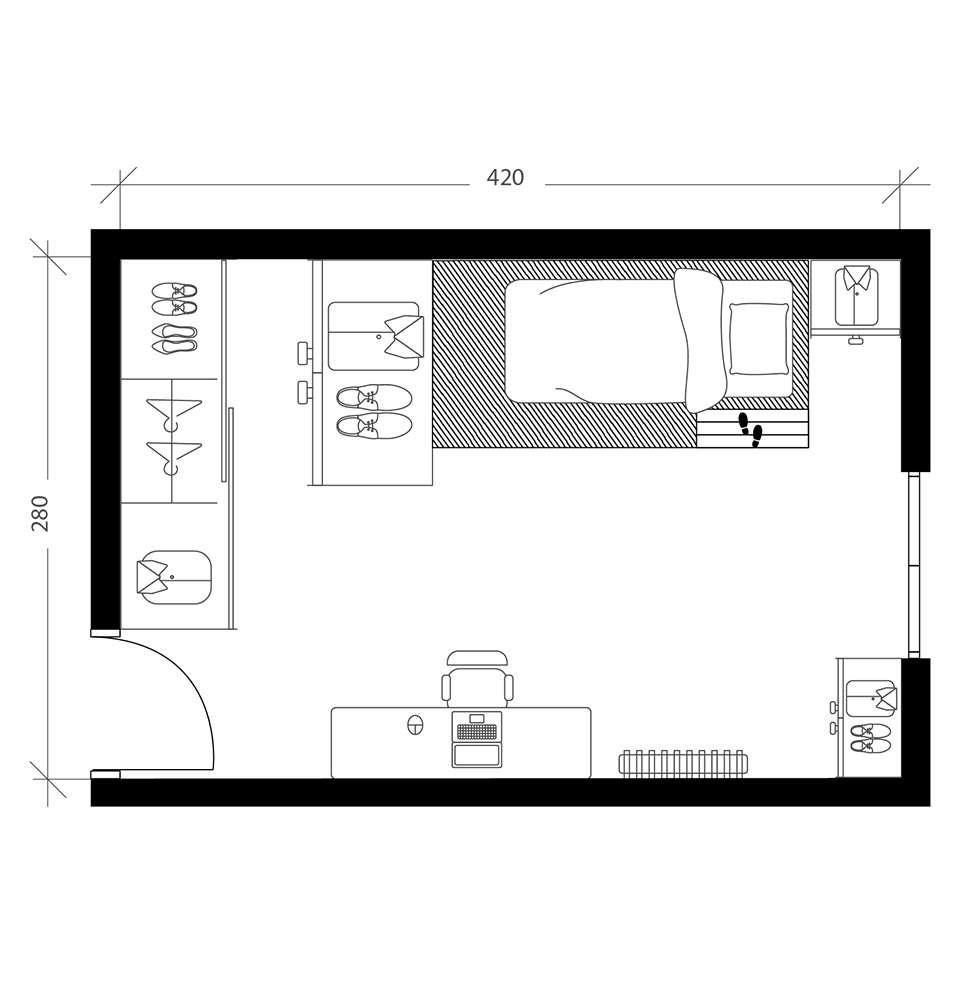2 chambres en 1, plan avant