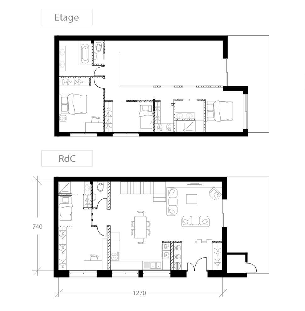 Agrandissement de maison, plan après