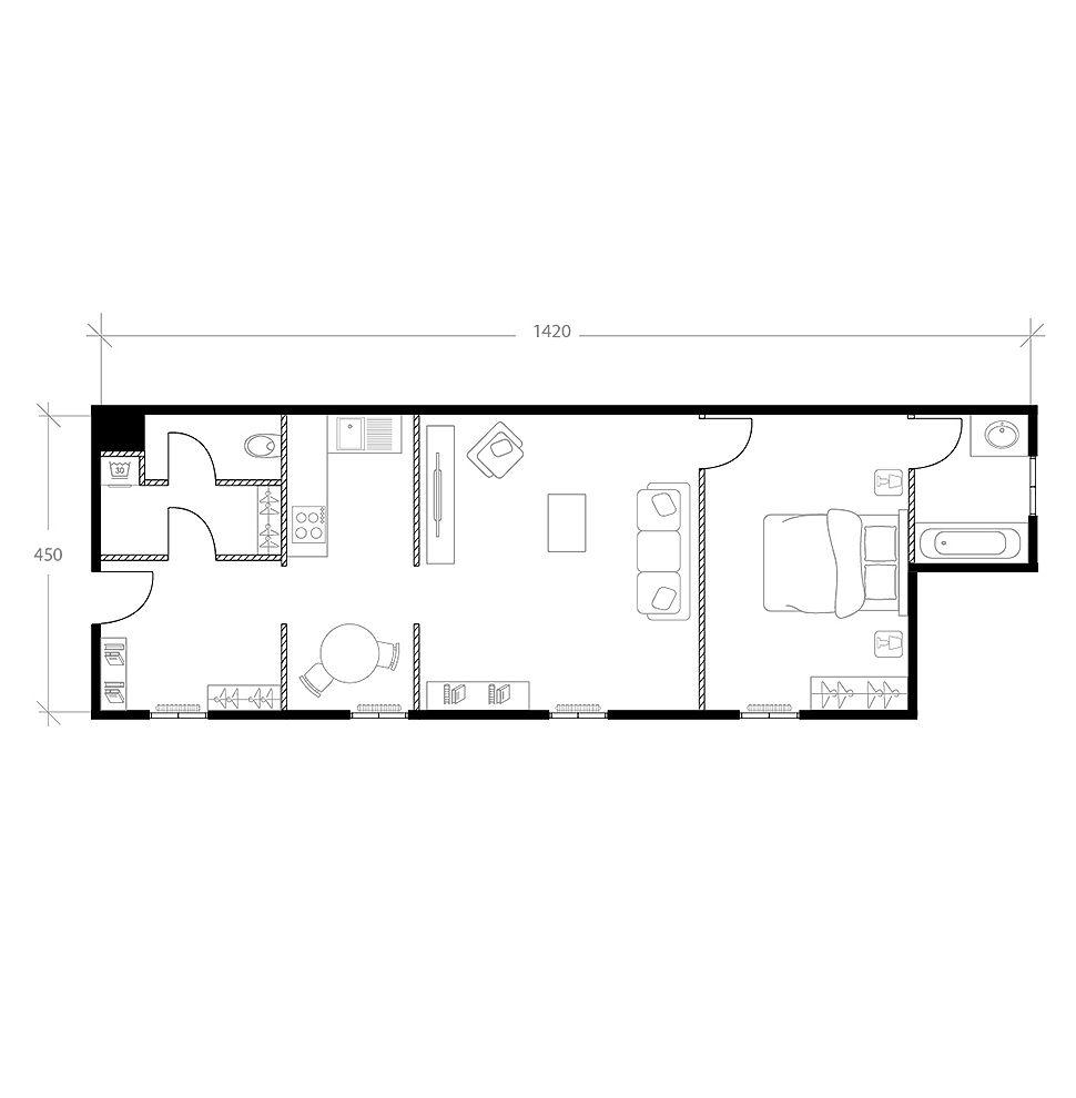 Aménagement d'un appartement en longueur, plan avant