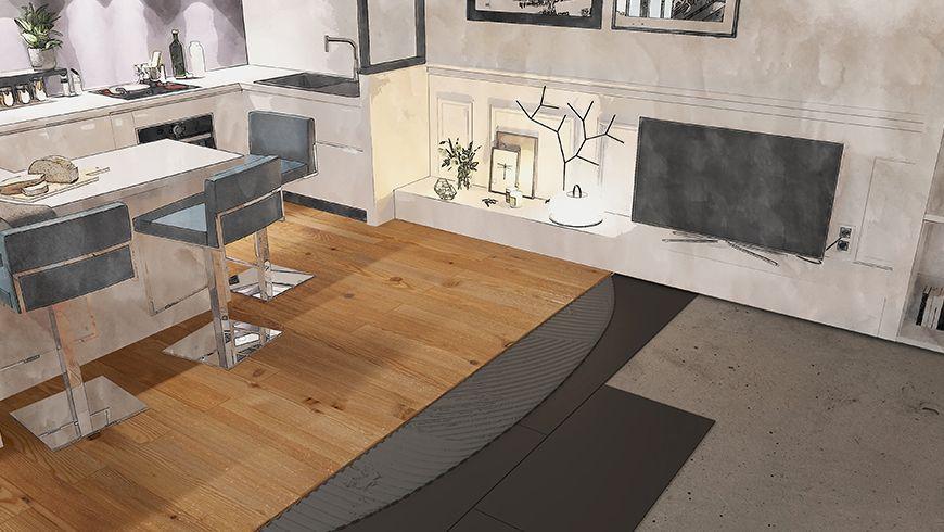 Aménagement d'un appartement en longueur, vue avant