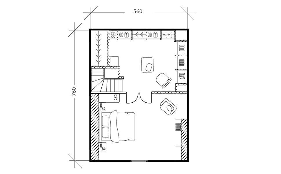 Chambre moderne sous les toits, plan