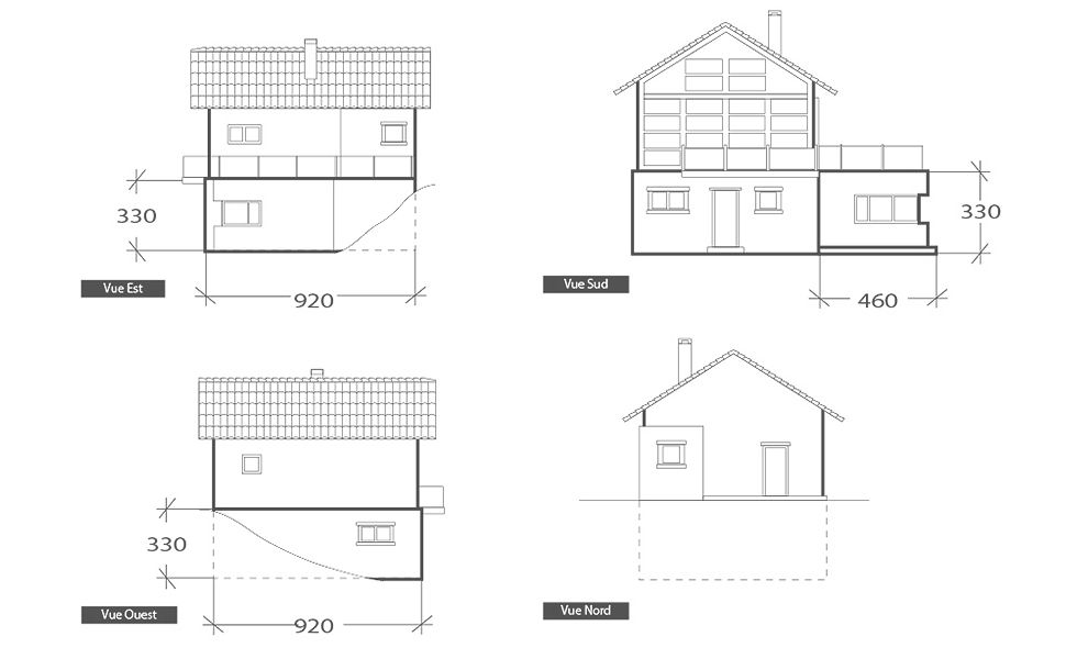 Extension en bois, plan