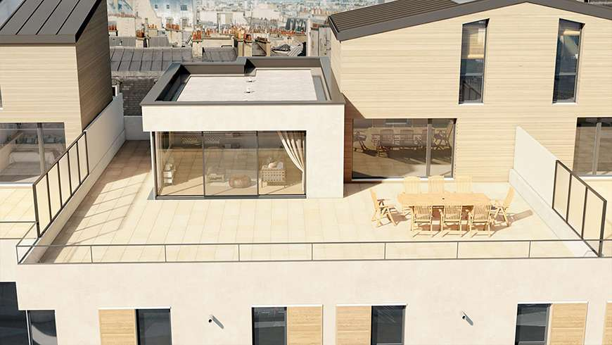 Toit terrasse et véranda, vue avant