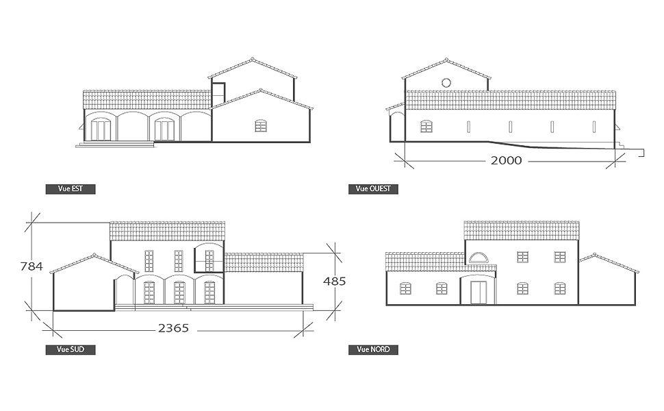 Façade de maison provençale, plan