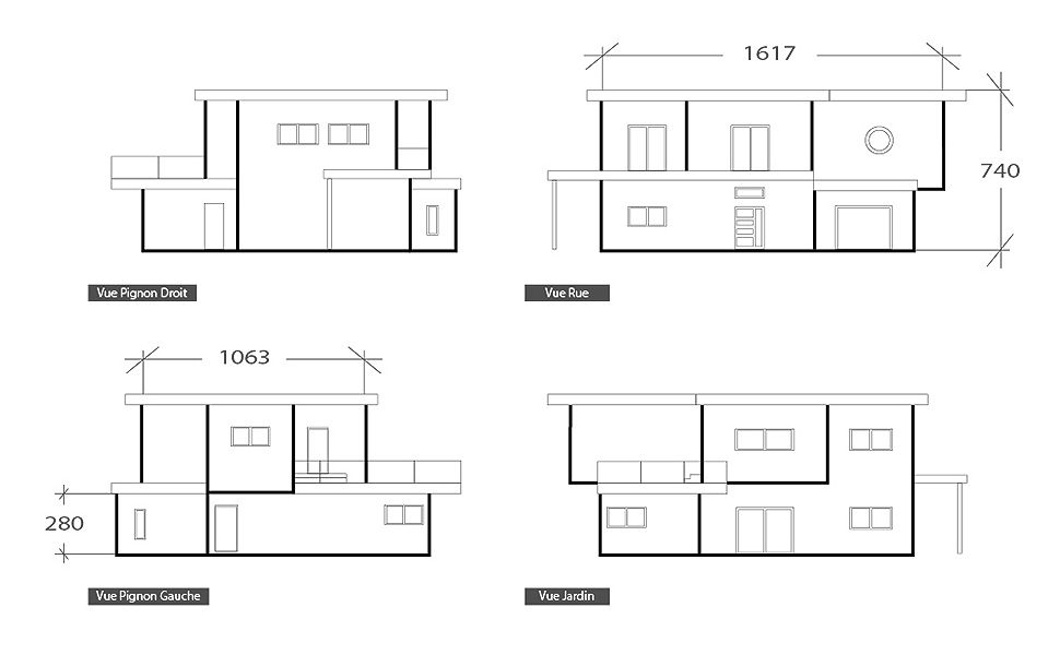 Façade moderne design, plan