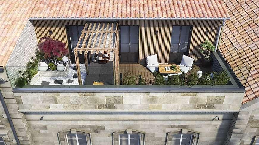 Jardin zen sur une terrasse, vue avant