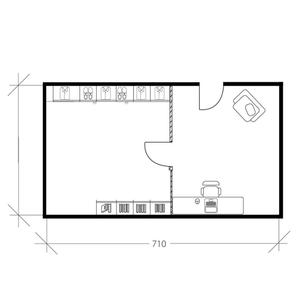 Chambre scandinave sous les toits, plan avant