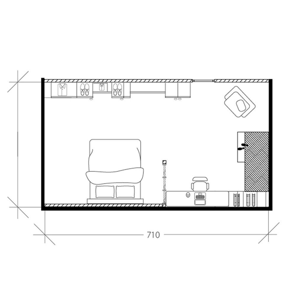 Chambre scandinave sous les toits, plan après