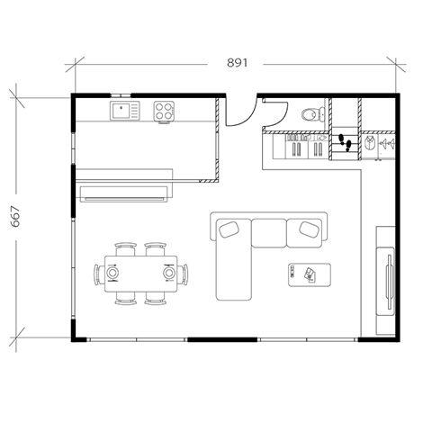 Salon moderne, plan après