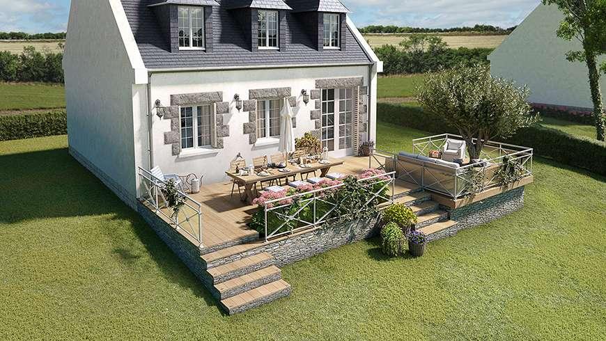 Terrasse bois sur un terrain en pente, vue avant