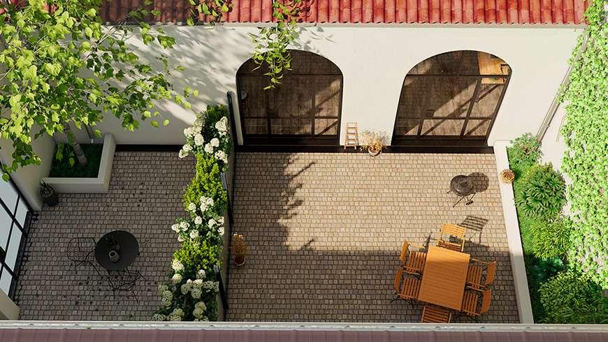 Terrasse style industriel, vue avant