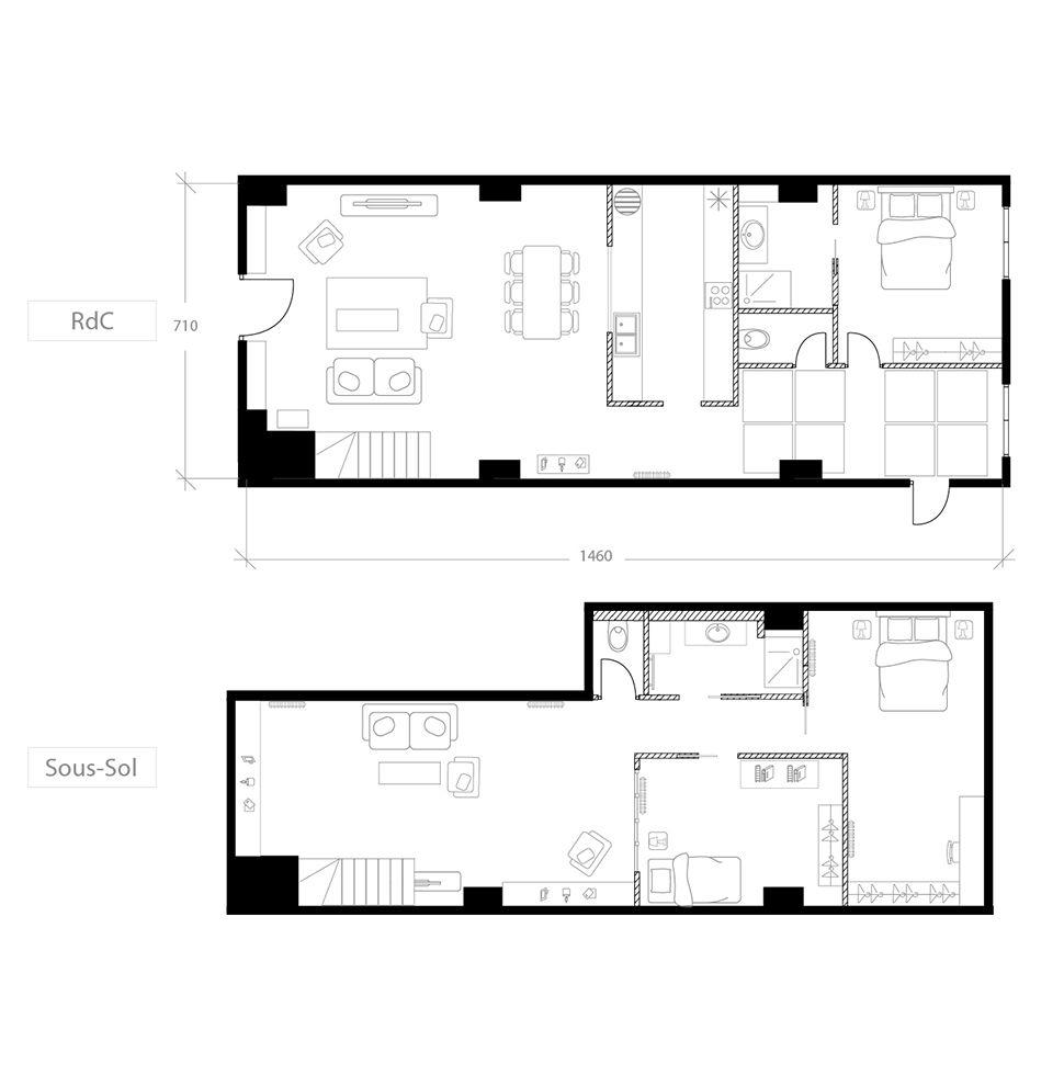 Transformer un local commercial en habitation, plan après