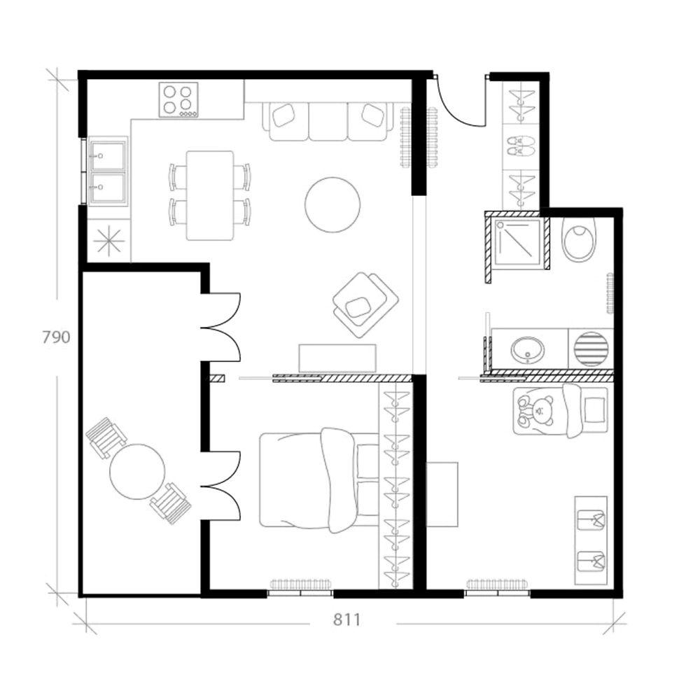 Agencement appartement 45 m², plan après