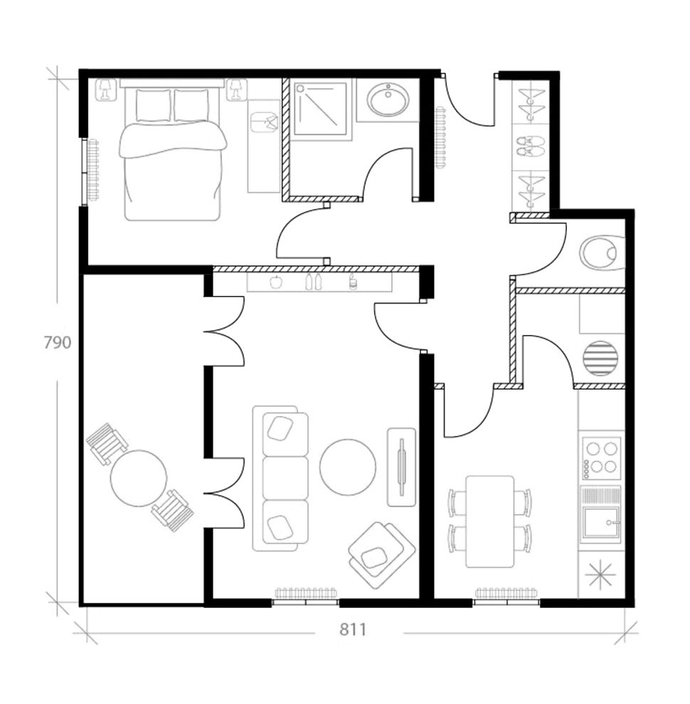 Agencement appartement 45 m², plan avant