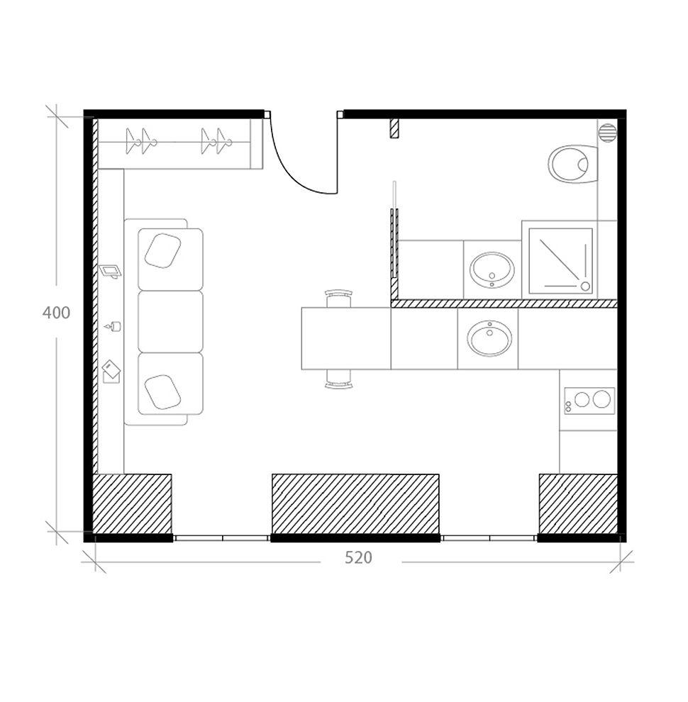 Appartement sous les toits, plan après
