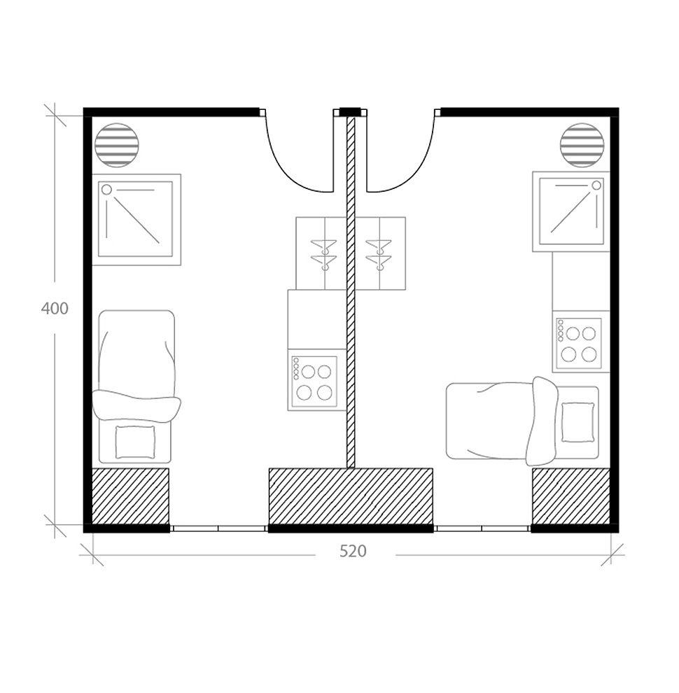 Appartement sous les toits, plan avant