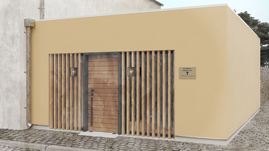 Garage aménagé en local professionnel, vue avant