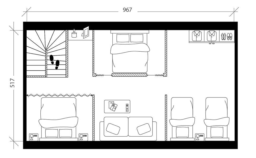 Chambre dortoir sous combles, plan