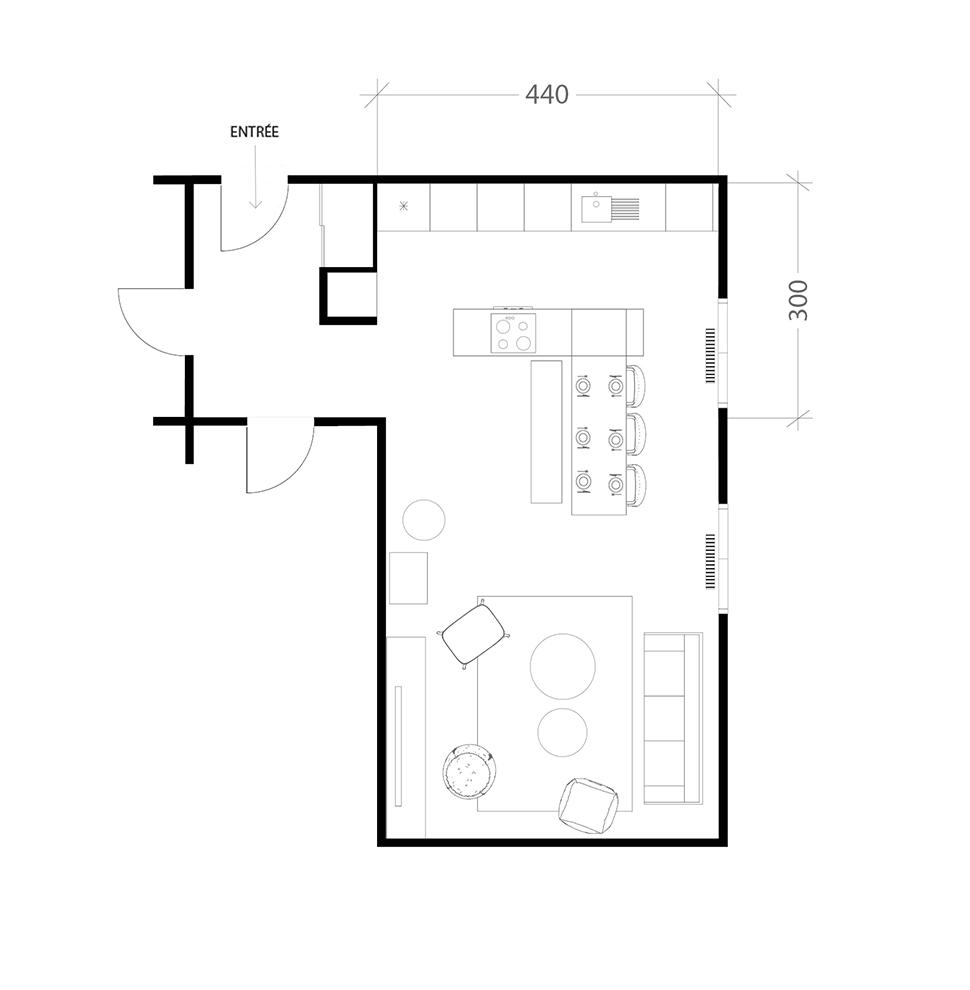 Cuisine familiale de 15m², plan après