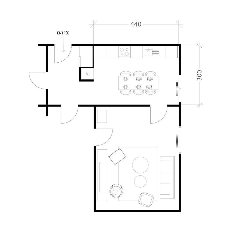 Cuisine familiale de 15m², plan avant