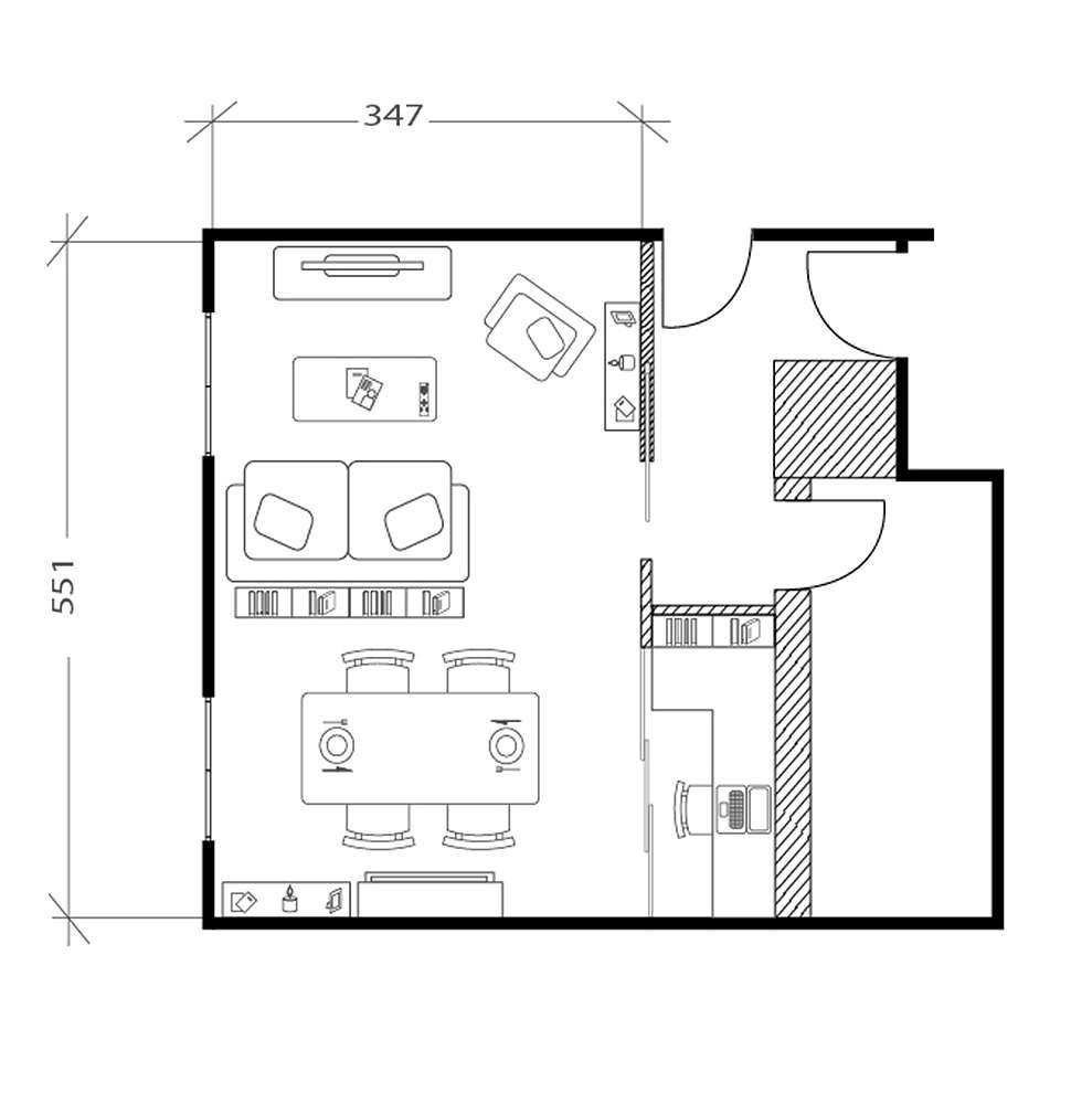 Salon industriel, plan après