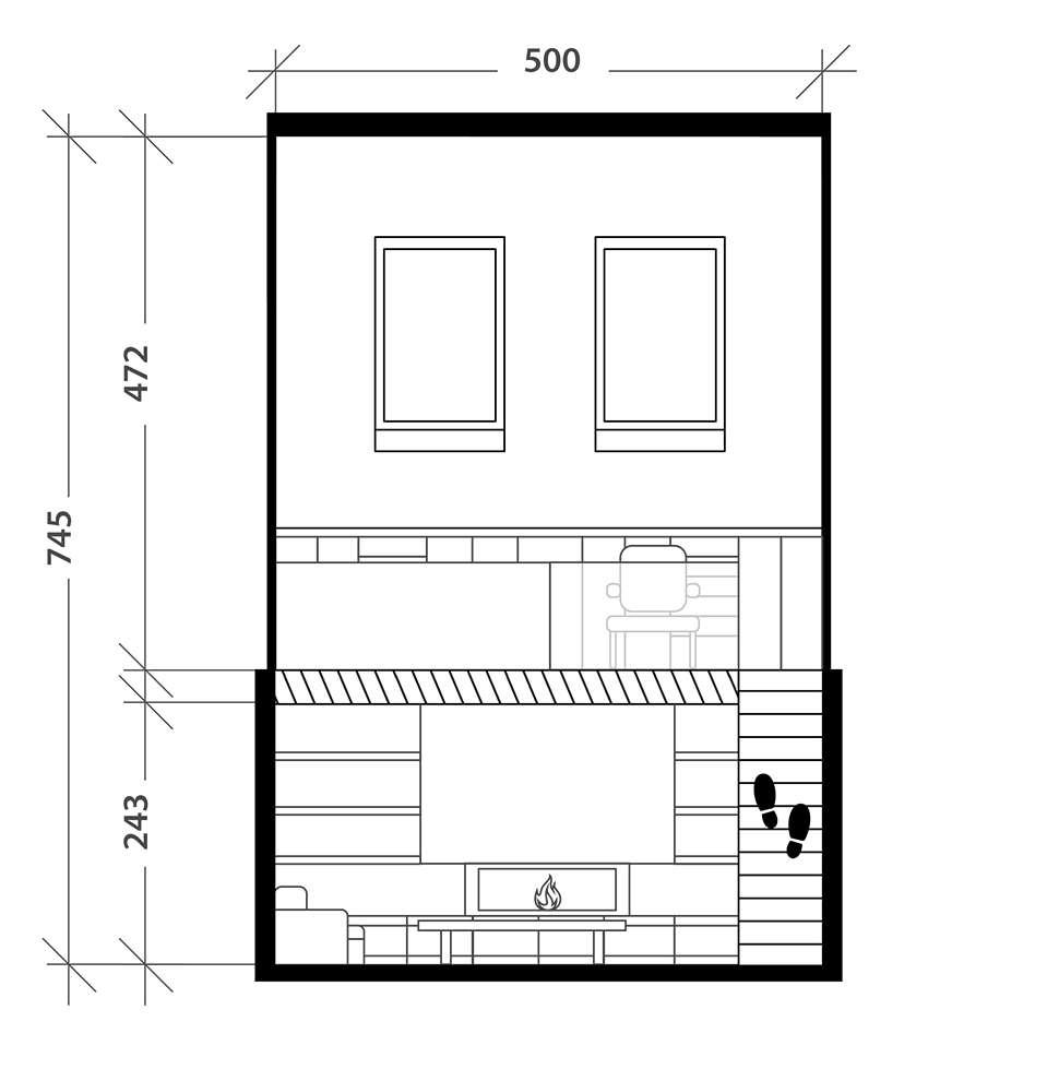 Bureau en mezzanine dans un salon, plan