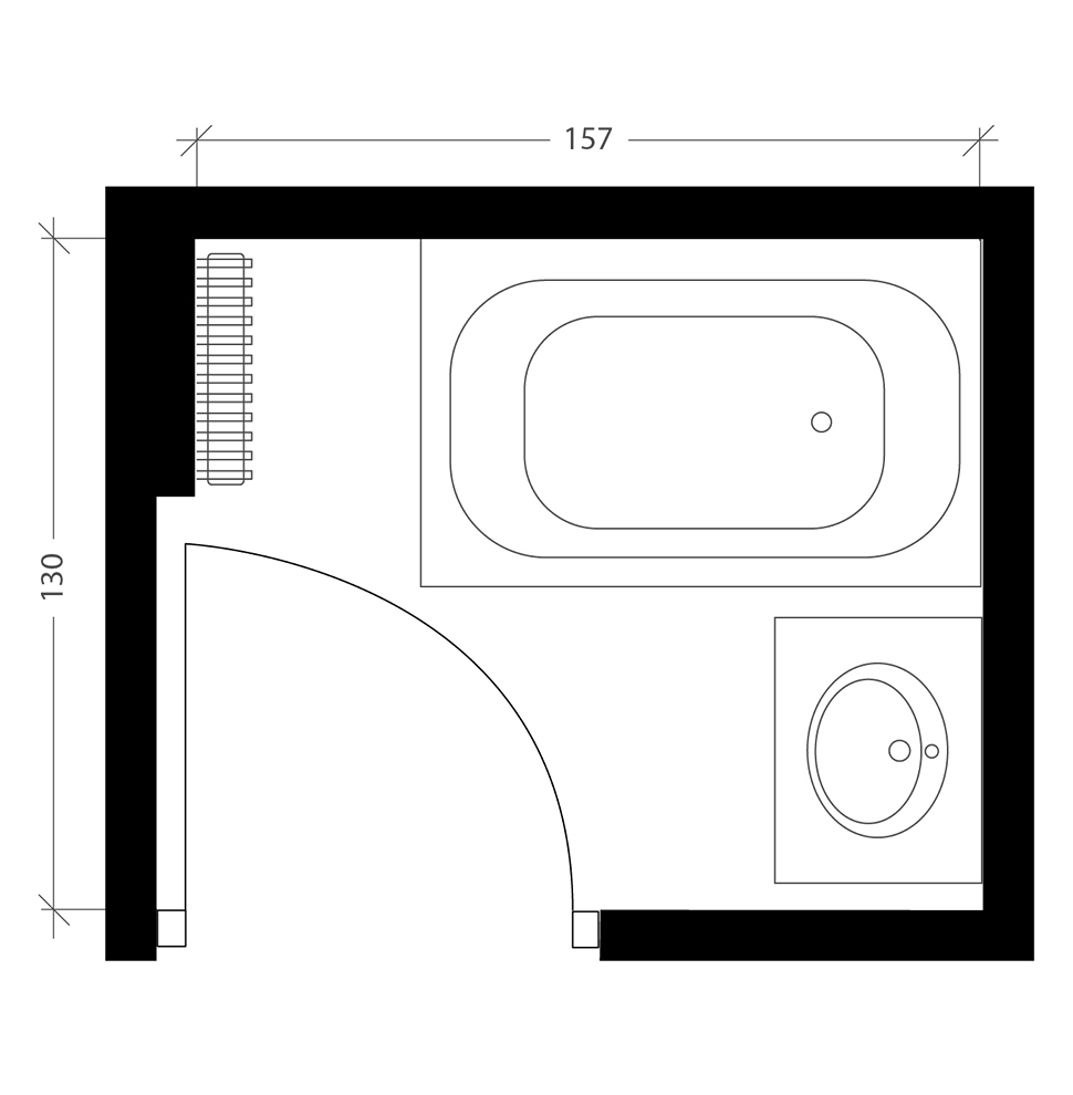 Petite salle de bain, plan avant