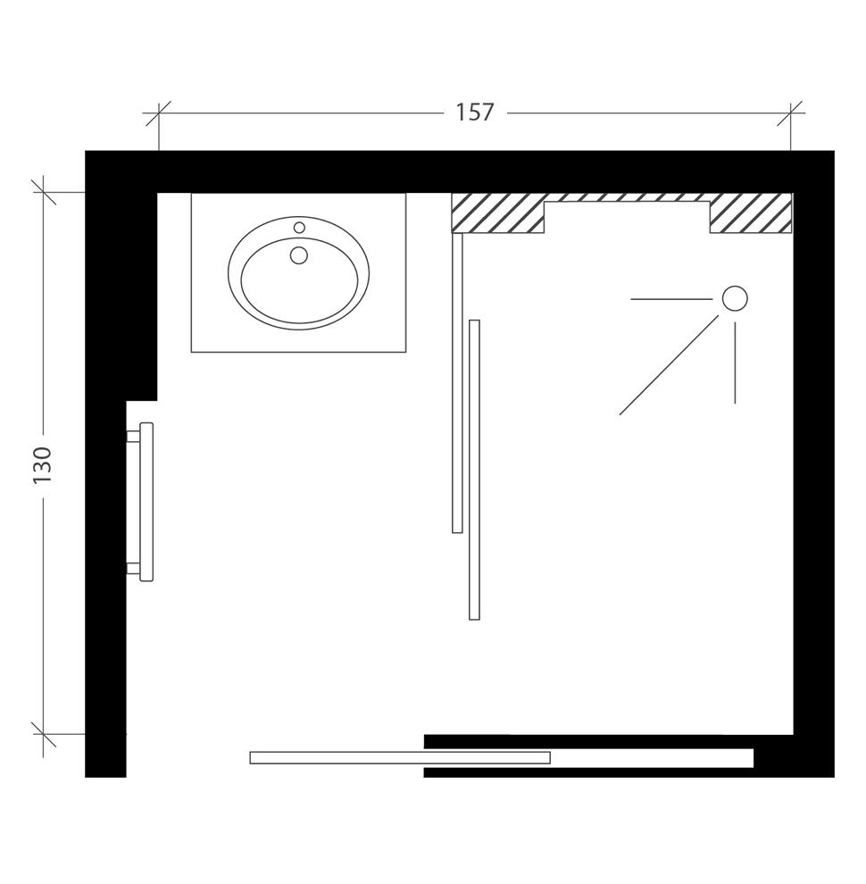 Petite salle de bain, plan après