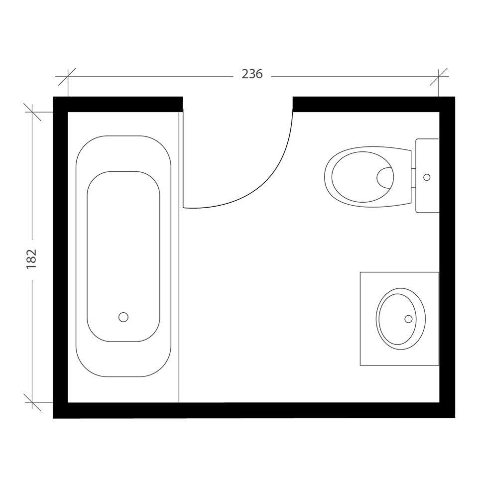 Salle de bain italienne, plan avant