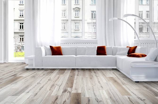 Choisir un sol en PVC : imitation parquet blanc