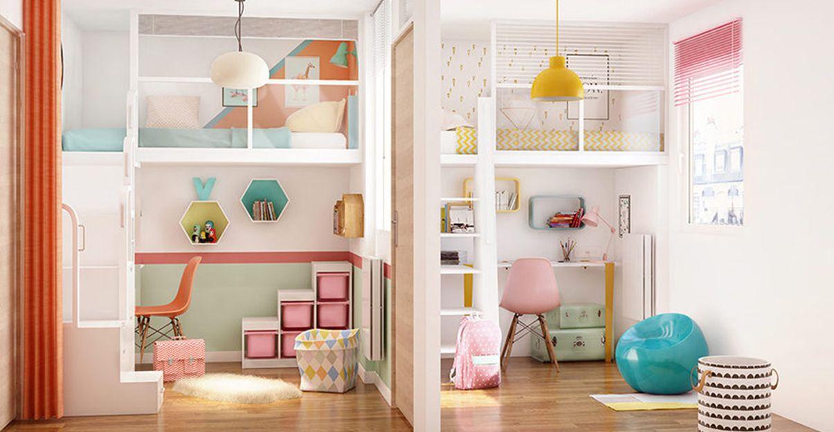 Le lit mezzanine, coin nuit en hauteur pour dégager l'espace au sol d'une petite chambre