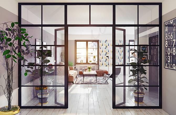 La porte intérieure en verre, lumière et caractère...