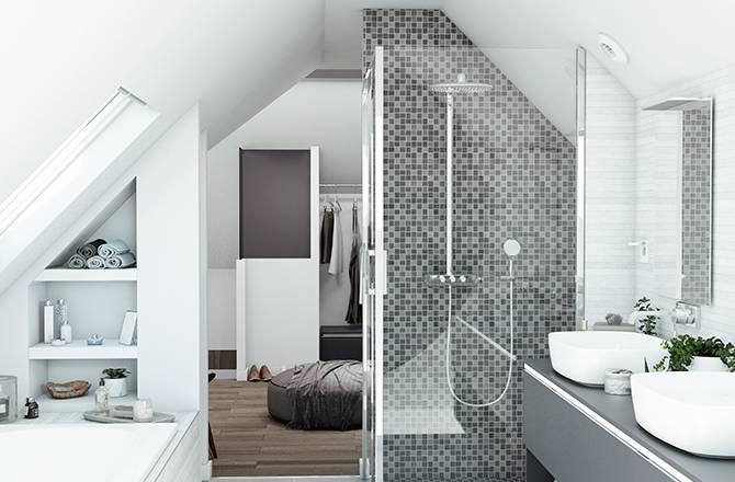 Une salle de bain familiale de 12 m², avec double vasque, douche et baignoire.