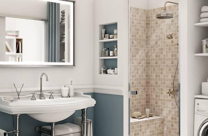 Meuble vasque douche et espace buanderie peuvent tenir dans 4 m²