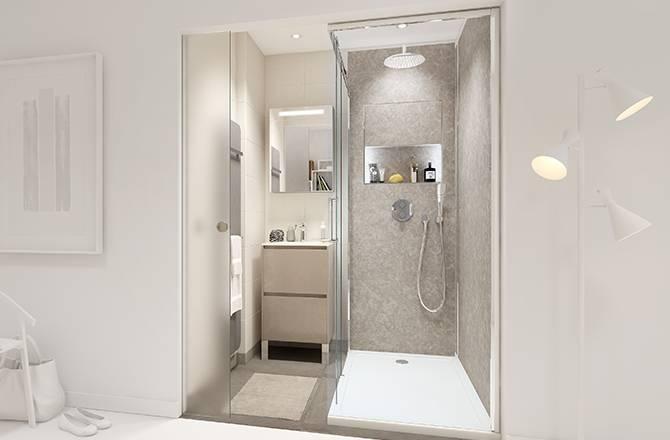 Une mini salle de bain moderne dans 2,4 m².