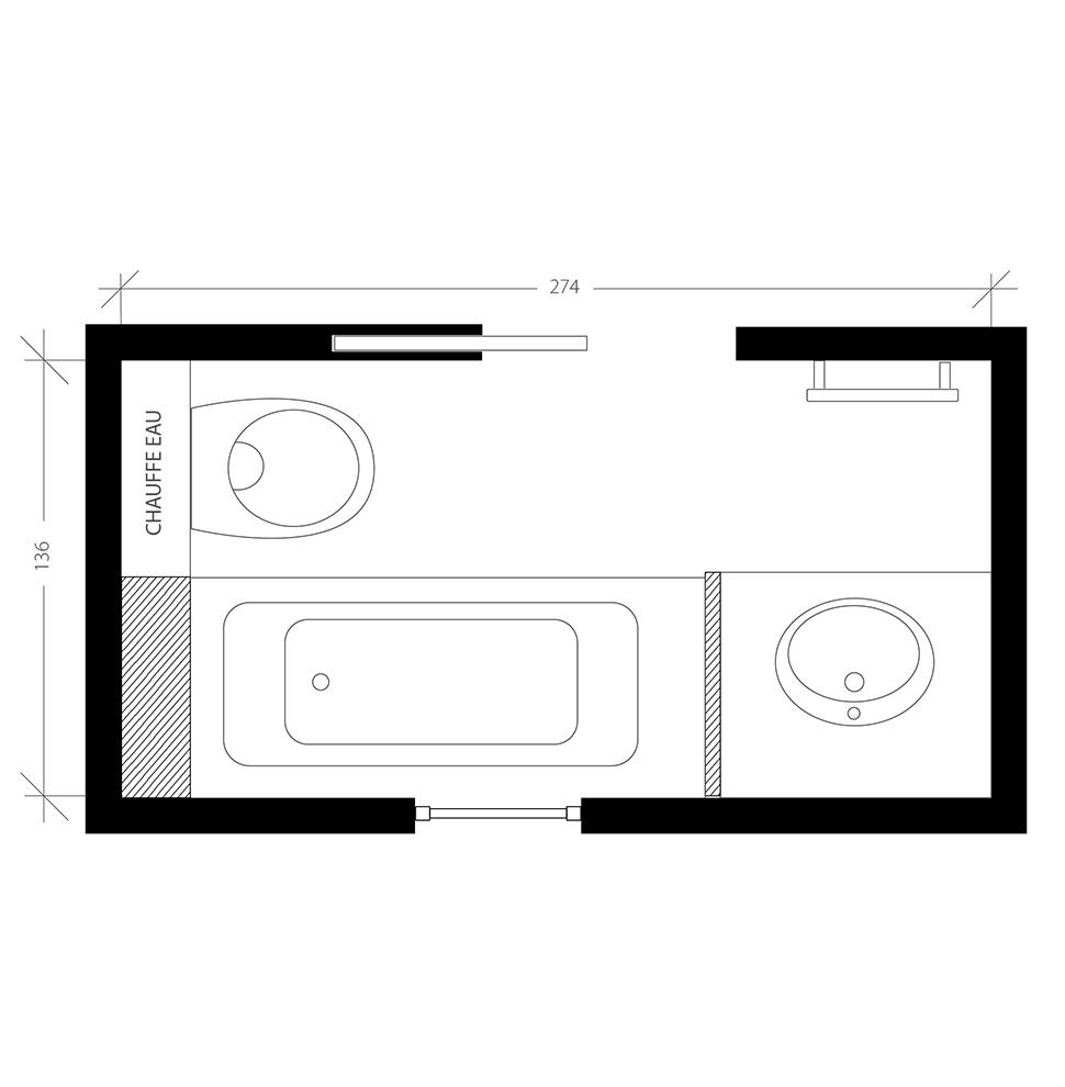 Salle de bain scandinave, plan après
