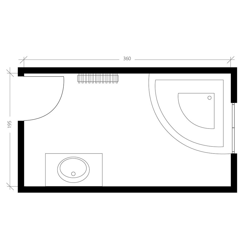 Salle de bain de 7 m², plan avant