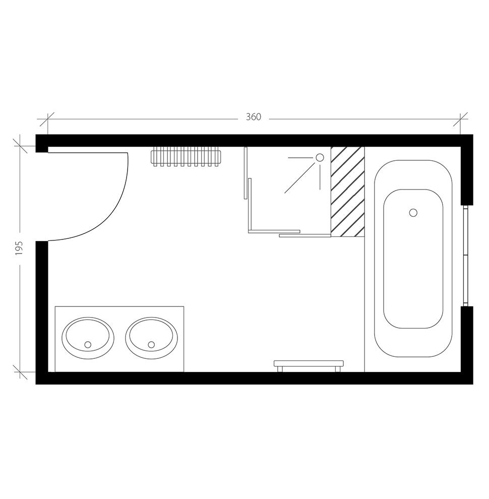 Salle de bain de 7 m², plan après