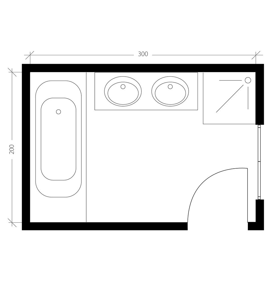 Salle de bain moderne, plan avant