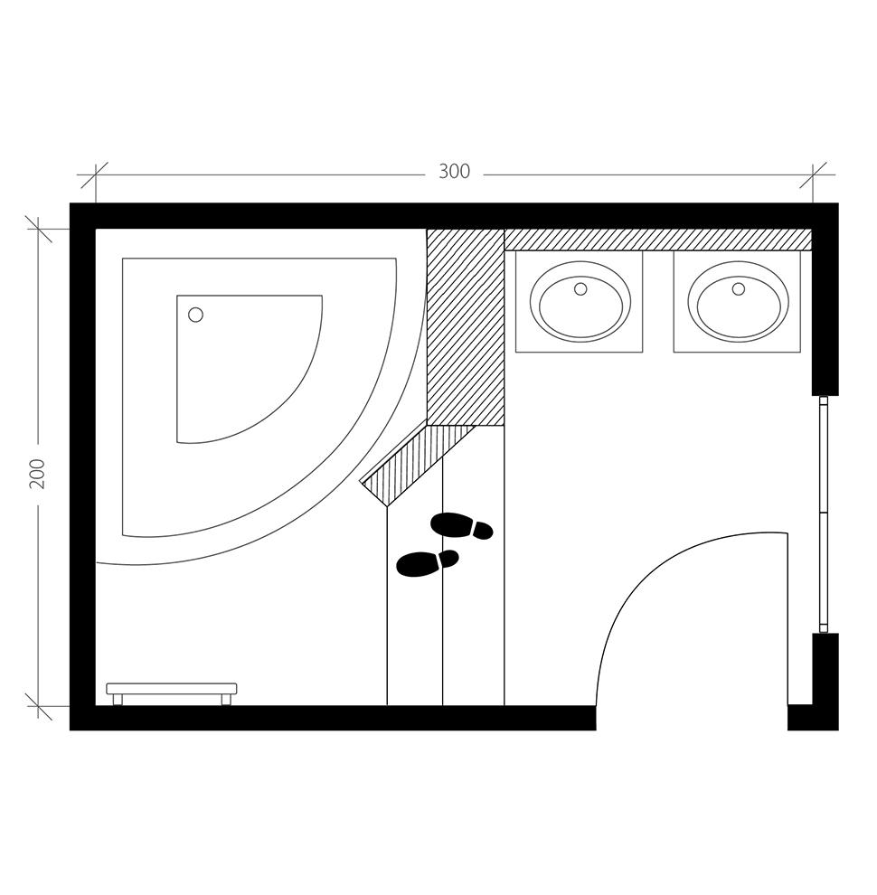 Salle de bain moderne, plan après