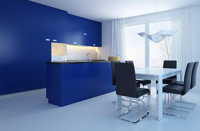 cuisine bleue et table