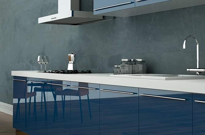 cuisine bleue ambiance beton