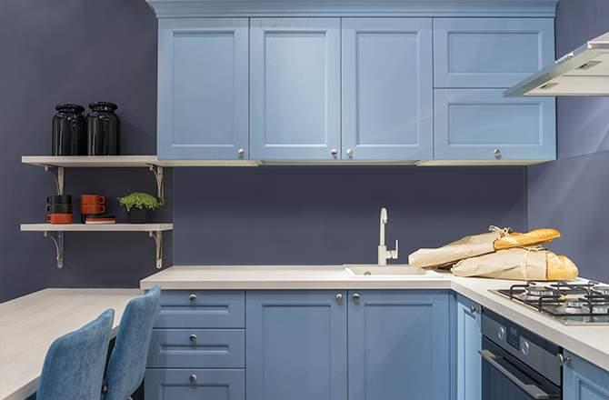 cuisine bleue La Maison Saint-Gobain