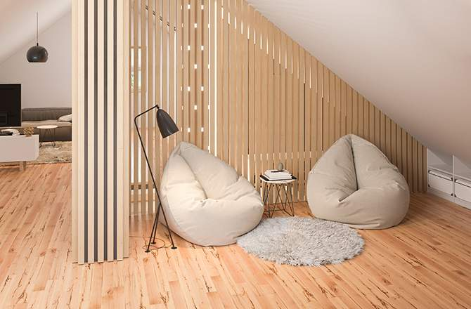 Décoration des combles: cloison légère et meubles bas