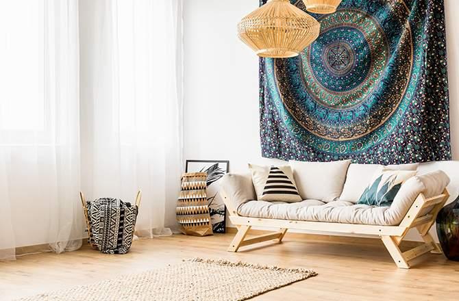 Décoration d'appartement : style hippie chic tenture déco
