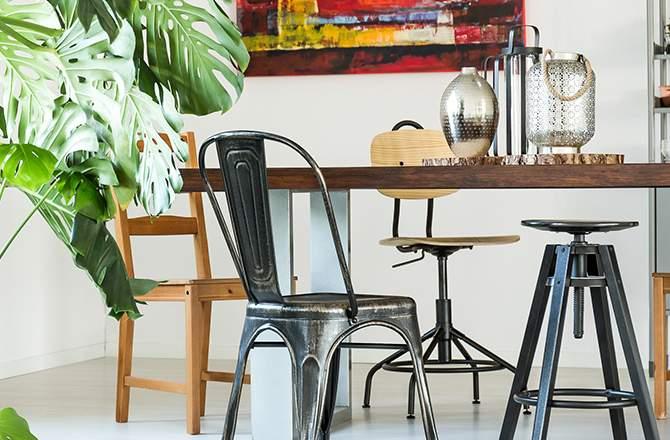 Décoration d'appartement : chaise déco style industriel
